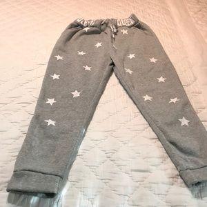 Pants - Gray Drawstring Star Joggers